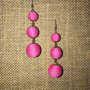 hot pink ball drop earrings